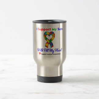 Autism: I Support My Son With All My Heart Mugs