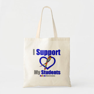 Autism I Support My Students Canvas Bags