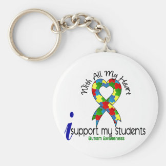 Autism I Support My Students Basic Round Button Key Ring
