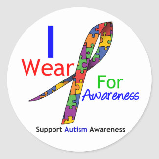 Autism I Wear Puzzle Ribbon For Awareness Round Sticker
