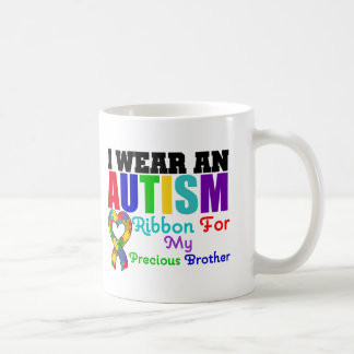 Autism I Wear Ribbon For My Precious Brother Basic White Mug