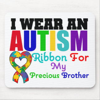 Autism I Wear Ribbon For My Precious Brother Mouse Pad