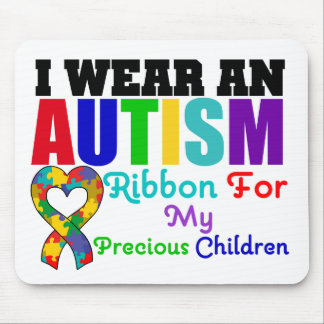 Autism I Wear Ribbon For My Precious Children Mouse Mats