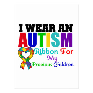 Autism I Wear Ribbon For My Precious Children Postcard