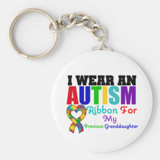 Autism I Wear Ribbon For My Precious Granddaughter Basic Round Button Key Ring