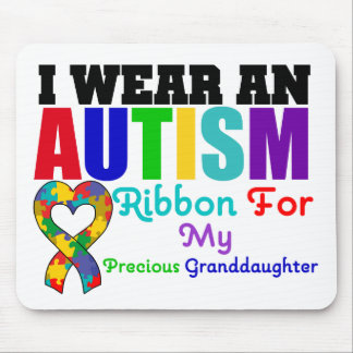 Autism I Wear Ribbon For My Precious Granddaughter Mousemats