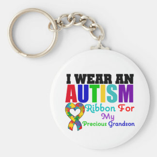 Autism I Wear Ribbon For My Precious Grandson Basic Round Button Key Ring