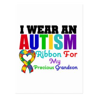 Autism I Wear Ribbon For My Precious Grandson Postcard