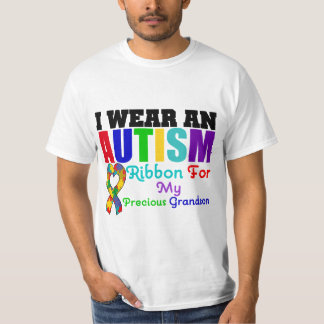 Autism I Wear Ribbon For My Precious Grandson T-shirt