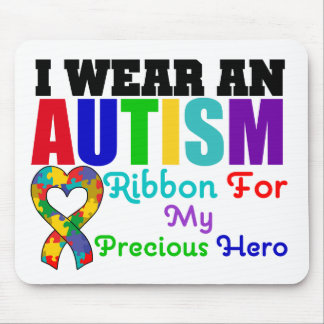 Autism I Wear Ribbon For My Precious Hero Mousemats