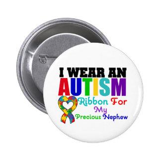 Autism I Wear Ribbon For My Precious Nephew 6 Cm Round Badge