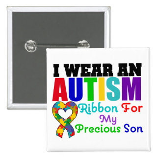 Autism I Wear Ribbon For My Precious Son 15 Cm Square Badge