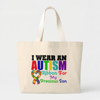 Autism I Wear Ribbon For My Precious Son Jumbo Tote Bag