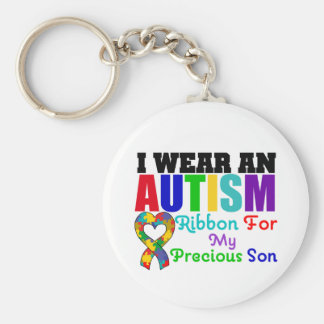Autism I Wear Ribbon For My Precious Son Basic Round Button Key Ring