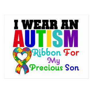 Autism I Wear Ribbon For My Precious Son Postcard