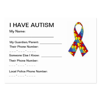 Autism ID cards Pack Of Chubby Business Cards