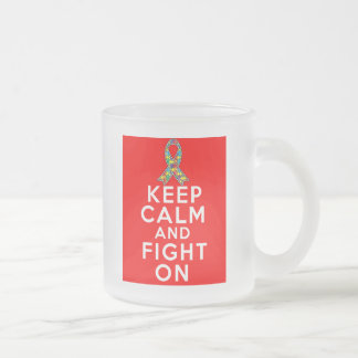 Autism  Keep Calm and Fight On Frosted Glass Mug