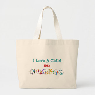 """Autism Love"" Canvas Totebag Large Tote Bag"