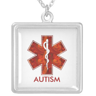 Autism Medical   Necklace: Customizable Silver Plated Necklace