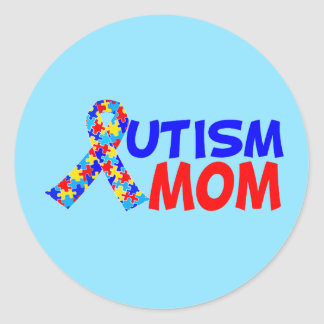 Autism Mom Blue Classic Round Sticker