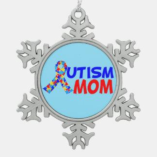 Autism Mom Blue Snowflake Pewter Christmas Ornament