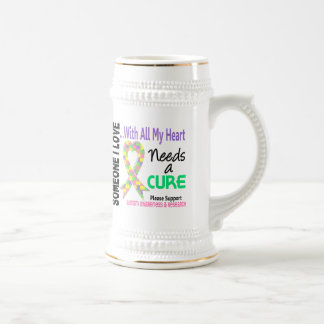 Autism Needs A Cure 3 Pastel 18 Oz Beer Stein