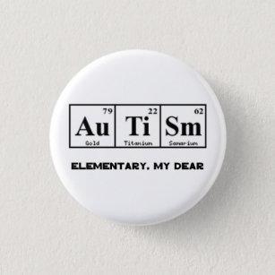 Periodic table badges pins zazzle uk autism periodic table elements sherlock holmes 3 cm round badge urtaz Gallery