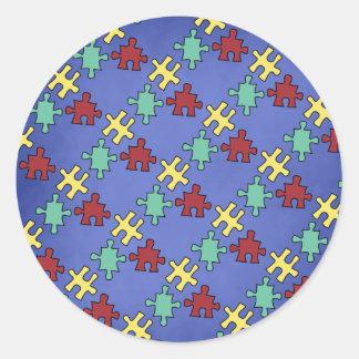 Autism Puzzle Awareness Envelope Seals Round Sticker