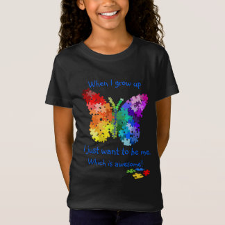 Autism Puzzle Butterfly When I Grow Up Design T-Shirt