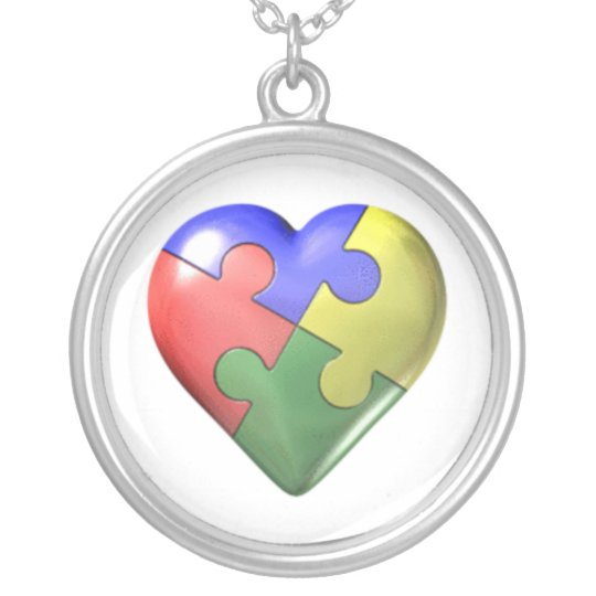 Autism Puzzle Heart Silver Plated Necklace