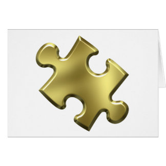 Autism Puzzle Piece Gold Greeting Card