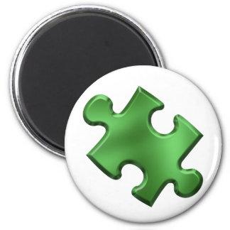 Autism Puzzle Piece Green Magnet