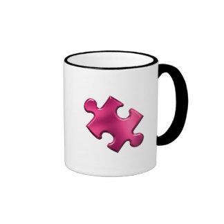 Autism Puzzle Piece Pink Ringer Mug