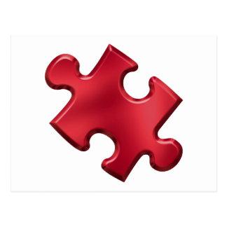 Autism Puzzle Piece Red Postcard
