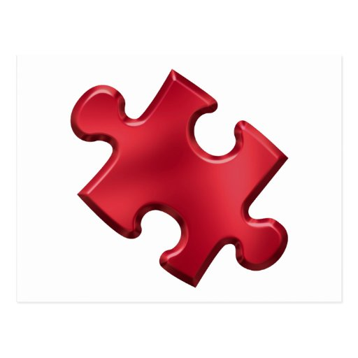 Autism Puzzle Piece Red Post Cards