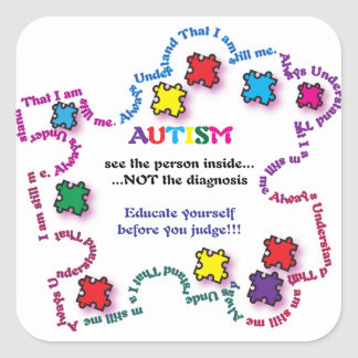 Autism Puzzle Piece Square Sticker
