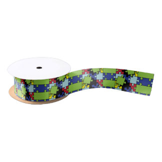 Autism Puzzle Pieces 1.5 Inches Satin Ribbon