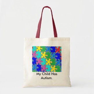 autism puzzle pieces 40 budget tote bag