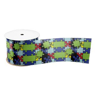 Autism Puzzle Pieces Satin Ribbon