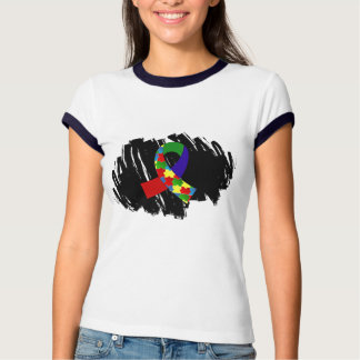 Autism Puzzle Ribbon 1.2 With Scribble Tee Shirt