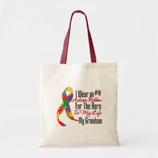 Autism Ribbon Hero in My Life My Grandson Canvas Bags
