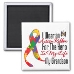 Autism Ribbon Hero in My Life My Grandson Square Magnet