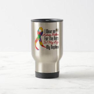 Autism Ribbon Hero in My Life My Nephew Stainless Steel Travel Mug