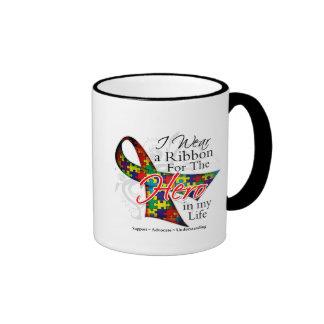 Autism Ribbon Hero in My Life Ringer Mug