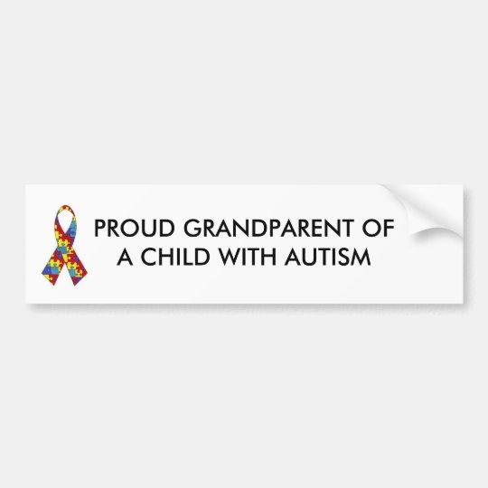 Autism ribbon proud grandparent of a child wit bumper sticker