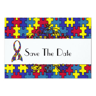 """Autism Save The Date 3.5"""" X 5"""" Invitation Card"""