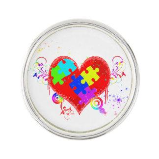 Autism Shining Heart Lapel Pin