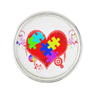 Autism Shining Heart Lapel Pin