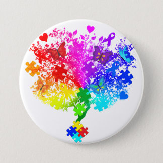 Autism Spectrum Tree 7.5 Cm Round Badge