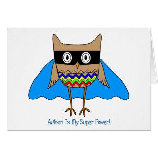 Autism Super Hero Owl, Autism Awareness Colors Note Card